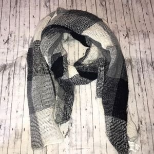 Express Over-Sized Black and White Plaid Scarf
